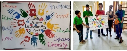 Special Children at Deepalaya Sambhav Project with their art work on world autism day.